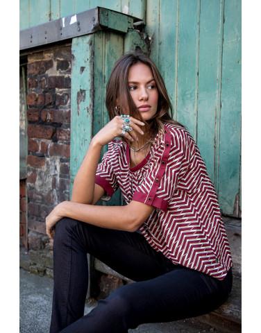 Selya Red Herringbone